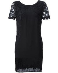 schwarzes gerade geschnittenes Kleid aus Spitze