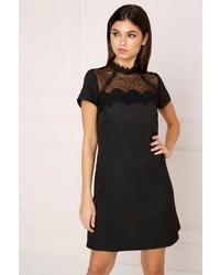 schwarzes gerade geschnittenes Kleid aus Spitze von Lipsy