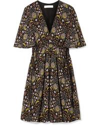 schwarzes gerade geschnittenes Kleid mit Blumenmuster von Chloé