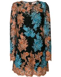 schwarzes gerade geschnittenes Kleid mit Blumenmuster von Dolce & Gabbana