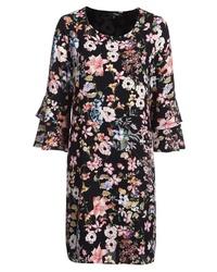 schwarzes gerade geschnittenes Kleid mit Blumenmuster von My Own
