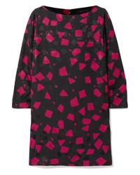 schwarzes gerade geschnittenes Kleid mit geometrischem Muster von Marc Jacobs