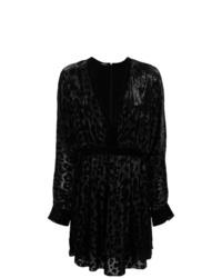 schwarzes gerade geschnittenes Kleid mit Leopardenmuster von Balmain