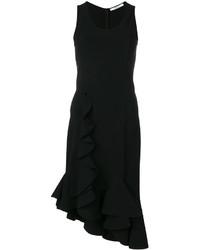 schwarzes gerade geschnittenes Kleid mit Rüschen von Givenchy