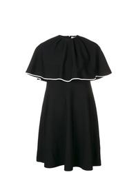schwarzes gerade geschnittenes Kleid mit Rüschen von Valentino