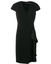 schwarzes gerade geschnittenes Kleid mit Rüschen von Versace