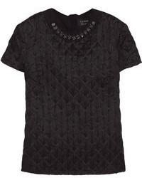 schwarzes gestepptes T-Shirt mit einem Rundhalsausschnitt von Lanvin