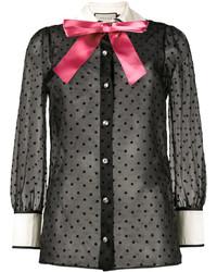 schwarzes Hemd mit Sternenmuster von Gucci