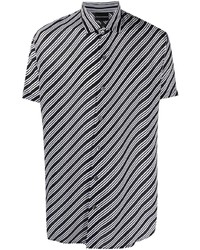 schwarzes horizontal gestreiftes Kurzarmhemd von Emporio Armani