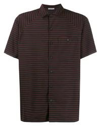 schwarzes horizontal gestreiftes Kurzarmhemd von Lanvin