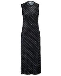 schwarzes horizontal gestreiftes Midikleid von DKNY
