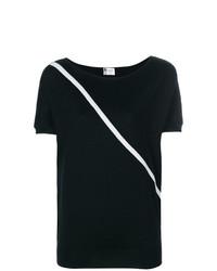 schwarzes horizontal gestreiftes T-Shirt mit einem Rundhalsausschnitt von Lanvin