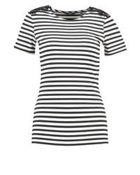 schwarzes horizontal gestreiftes T-Shirt mit einem Rundhalsausschnitt von Esprit