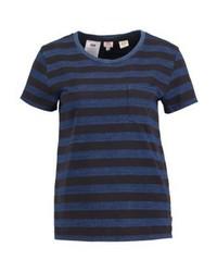 schwarzes horizontal gestreiftes T-Shirt mit einem Rundhalsausschnitt