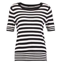 schwarzes horizontal gestreiftes T-Shirt mit einem Rundhalsausschnitt von Only