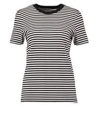 schwarzes horizontal gestreiftes T-Shirt mit einem Rundhalsausschnitt von Selected Femme