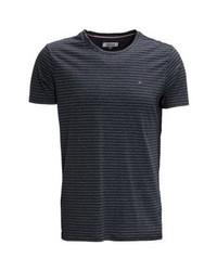 schwarzes horizontal gestreiftes T-Shirt mit einem Rundhalsausschnitt von Tommy Hilfiger