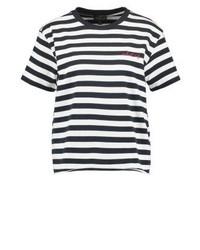 schwarzes horizontal gestreiftes T-Shirt mit einem Rundhalsausschnitt von Topshop