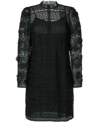 schwarzes Kleid aus Netzstoff mit Blumenmuster von Michael Kors