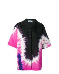 schwarzes Mit Batikmuster Kurzarmhemd von Prada