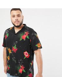 schwarzes Kurzarmhemd mit Blumenmuster von ASOS DESIGN