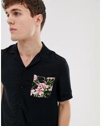 schwarzes Kurzarmhemd mit Blumenmuster von Burton Menswear