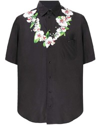 schwarzes Kurzarmhemd mit Blumenmuster von Dolce & Gabbana
