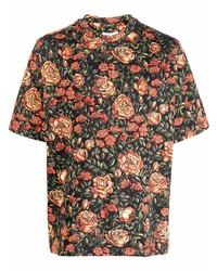 schwarzes Kurzarmhemd mit Blumenmuster von Kenzo