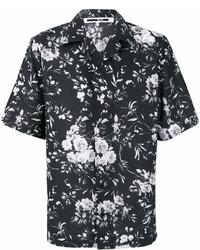 schwarzes Kurzarmhemd mit Blumenmuster von McQ