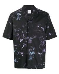schwarzes Kurzarmhemd mit Blumenmuster von Paul Smith