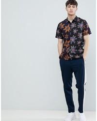 schwarzes Kurzarmhemd mit Blumenmuster von PS Paul Smith