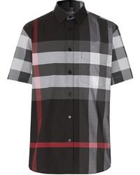 schwarzes Kurzarmhemd mit Schottenmuster von Burberry