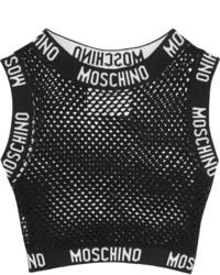 schwarzes kurzes Oberteil aus Netzstoff von Moschino