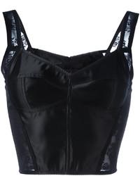 schwarzes kurzes Oberteil aus Spitze von Dolce & Gabbana