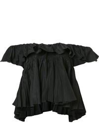 schwarzes kurzes Oberteil mit Rüschen von Tome