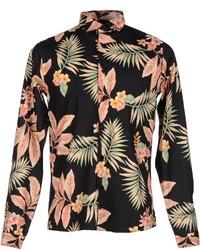 schwarzes Langarmhemd mit Blumenmuster