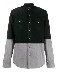 schwarzes Langarmhemd mit Flicken von Balmain