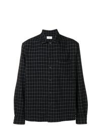 schwarzes Langarmhemd mit Karomuster von AMI Alexandre Mattiussi