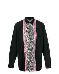 schwarzes Langarmhemd mit Leopardenmuster