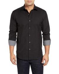 schwarzes Langarmhemd mit Paisley-Muster