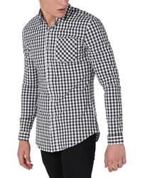 schwarzes Langarmhemd mit Vichy-Muster