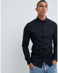 schwarzes Langarmhemd von ASOS DESIGN
