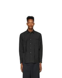 schwarzes Langarmhemd von Fumito Ganryu