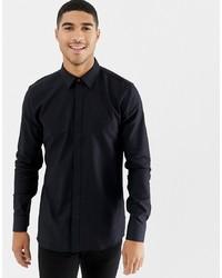schwarzes Langarmhemd von Hugo