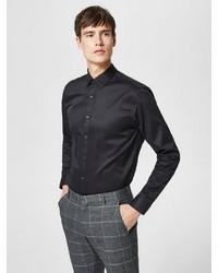 schwarzes Langarmhemd von Selected Homme