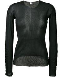 schwarzes Langarmshirt aus Netzstoff