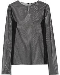 schwarzes Langarmshirt aus Netzstoff von Tom Ford