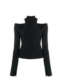 schwarzes Langarmshirt mit Ausschnitten