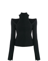schwarzes Langarmshirt mit Ausschnitten von Beaufille