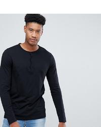 schwarzes Langarmshirt mit einer Knopfleiste von ASOS DESIGN